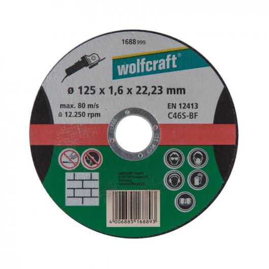 Wolfcraft 1688999 - 1 disco de cortar para piedra, granel Ø 125 x 1,6 x 22,23 mm