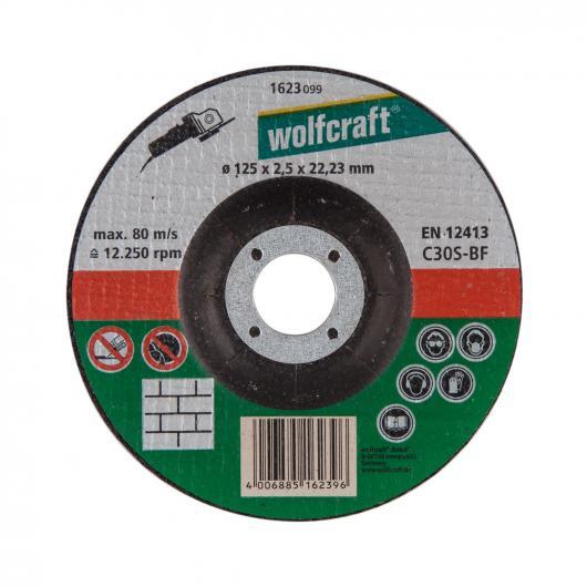 Wolfcraft 1623099 - 1 disco de cortar para piedra, cubo deportado, granel Ø 125 x 2,5 x 22,23 mm