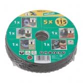 Wolfcraft 1663000 - 1 Conjunto básico para amoladora de ángulo, 5 pzas. Ø 115 mm