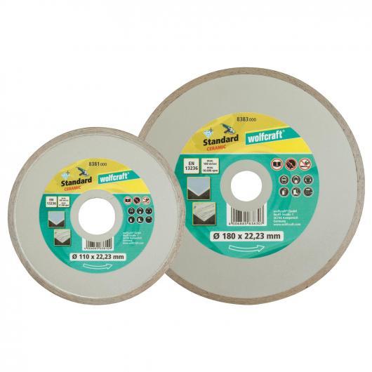Wolfcraft 8381000 - 1 disco de corte diamantado Standard-Ceramic, con arista cerrada Ø 110 x 22,2 mm