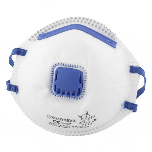 Wolfcraft 4840000 - 3 máscaras antipolvo FFP2 V, con válvula de respiración, especialmente adecuadas para prevención antigripe, DIN EN 149:2001 + A1:2009 (CE)