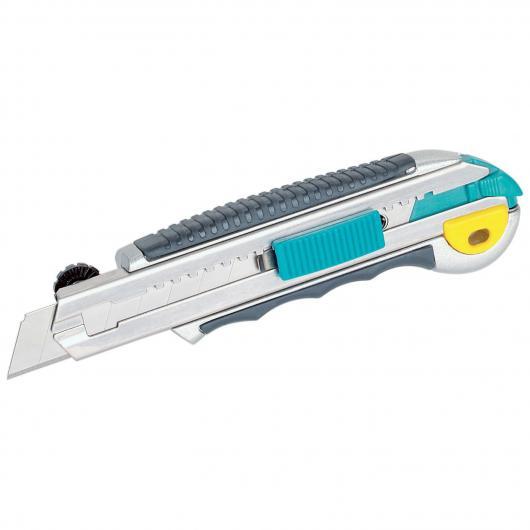 Wolfcraft 4136000 - 1 cúter de cuchillas separables de profesional 2K con cuchilla 18 mm, mango metálico, zona blanda agradable al tacto, depósito con 8 hojas de recambio, botón de seguridad para bloquear la cuchilla 18 mm