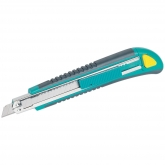 Wolfcraft 4139000 - 1 cúter de cuchillas separables 2K con cuchilla 9 mm, mango de plástico, zona de agarre blanda y agradable al tacto, depósito con 3 hojas de recambio 9 mm