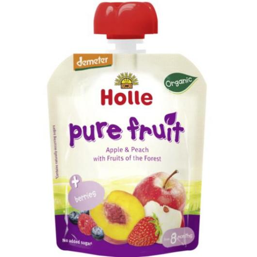 Smoothie BIO de Pomme et Pêche avec Fruits des Bois Holle, 90 g