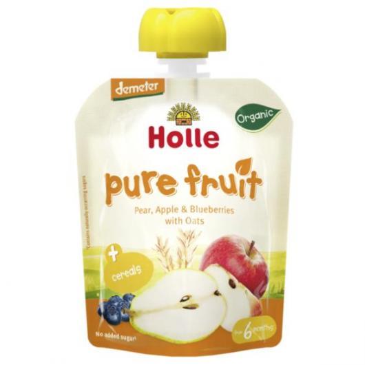 Smoothie BIO de pera, manzana, arándano y avena Holle, 90 g