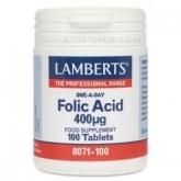 Acide Folique 400 mcg Lamberts, 100 tablettes