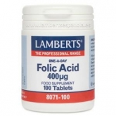Ácido Fólico 400 mcg Lamberts,, 100 tabletes
