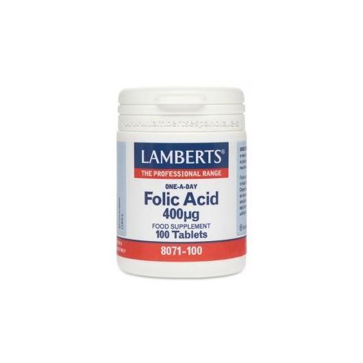 Acido Folico 400 mcg Lamberts,, 100 compresse