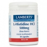 L-Histidina HCl 500 mg Lamberts, 30 capsule