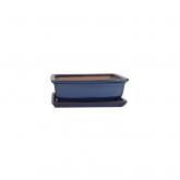 Portavasi  base rettangolare azzurro e piatto