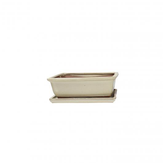Pot Basic Class Rectangulaire Crème + Plateau