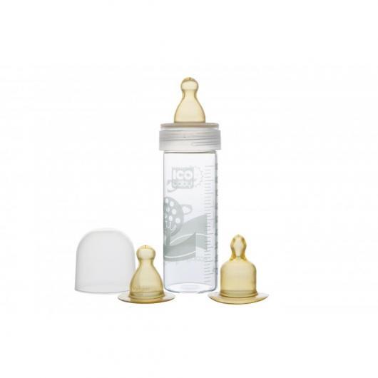 Biberon di vetro nel sacchetto di iuta ICO baby 90 ml