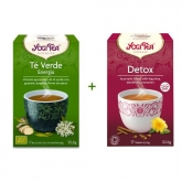 Confezione di tè Detox  + tè verde energia Yogi Tea, 17 + 17 bustine