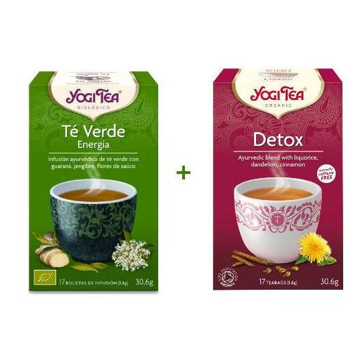 Pack té Detox +  té verde energía Yogi Tea, 17 + 17 bolsitas