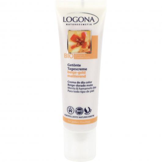Crema de día color Beige-dorado mate Menta y Hamamelis 30ml, Logona