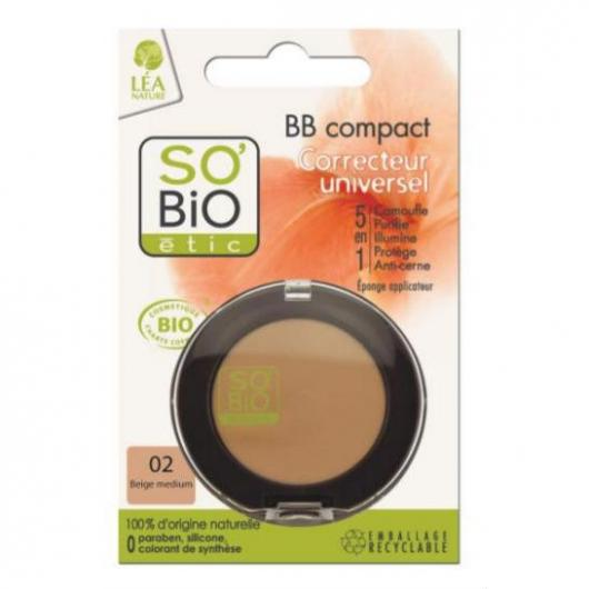 BB Compact 5 en 1 Corrector 02 beige medium SO'BIO étic 3,8 g
