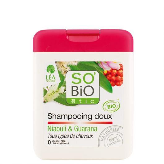 Champú suave Niaulí y Guaraná SO'BIO étic 250 ml.