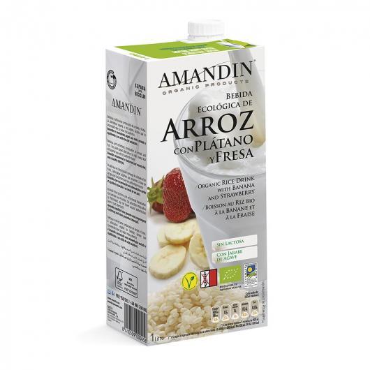Bebida De Arroz Platano y Fresa Amandin 1L
