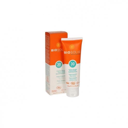 Crème solaire visage SPF 30 BioSolis, 50 ml