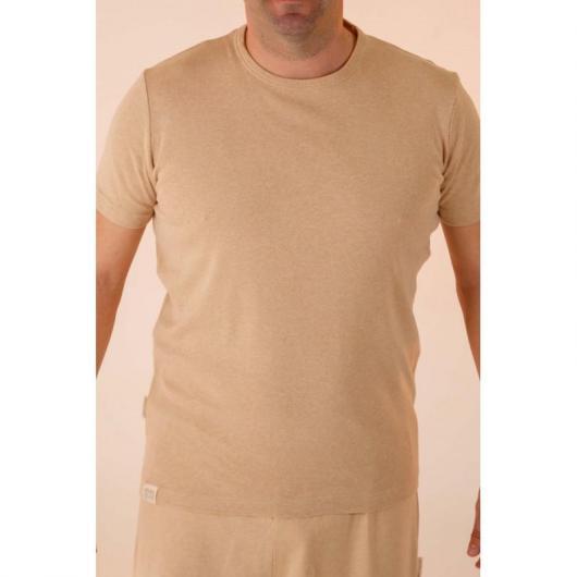 Camiseta manga corta de algodón orgánico masculina, marrón