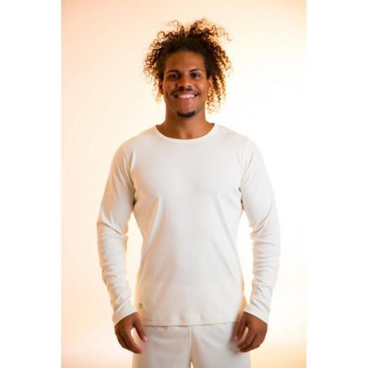 Camiseta manga larga de algodón orgánico masculino, blanco