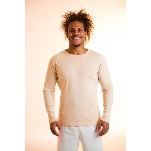 Camiseta manga larga de algodón orgánico masculina, marrón
