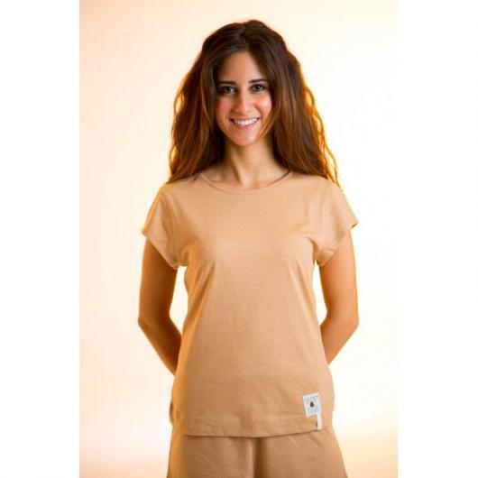 Maglietta manica corta cotone organico donna, marrone