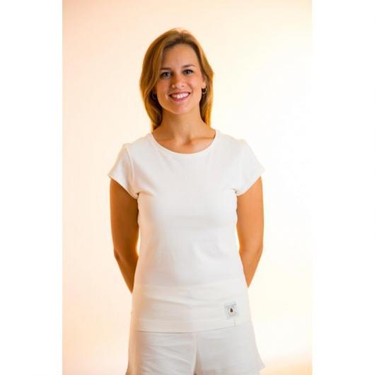 Camiseta manga corta de algodón orgánico femenina, blanca