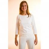 Camiseta manga 3 / 4 de algodón orgánico, blanca