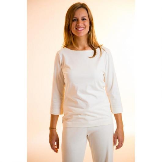 Maglietta manica a 3/4 cotone organico, bianca
