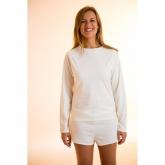 Camiseta manga larga de algodón orgánico femenina, blanca