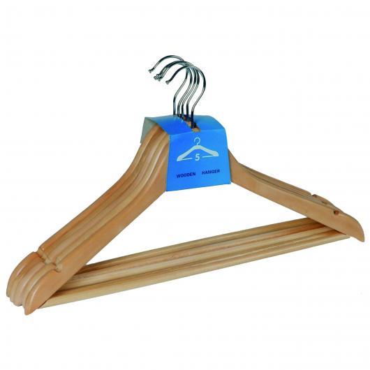 Percha anatómica de madera 5 uds.