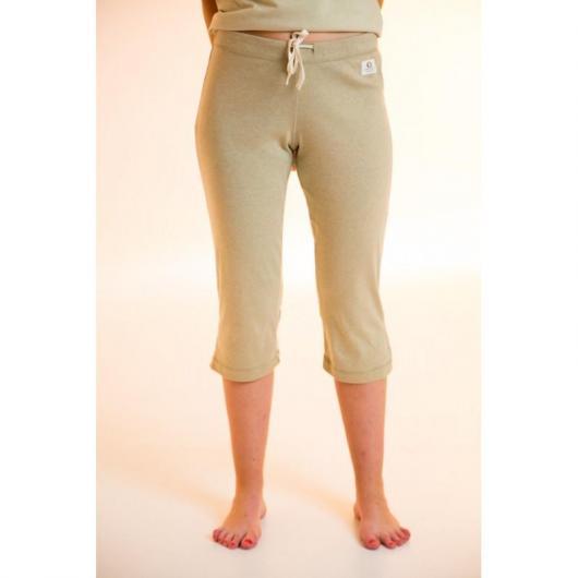 Pantalón pirata de algodón orgánico femenino, verde