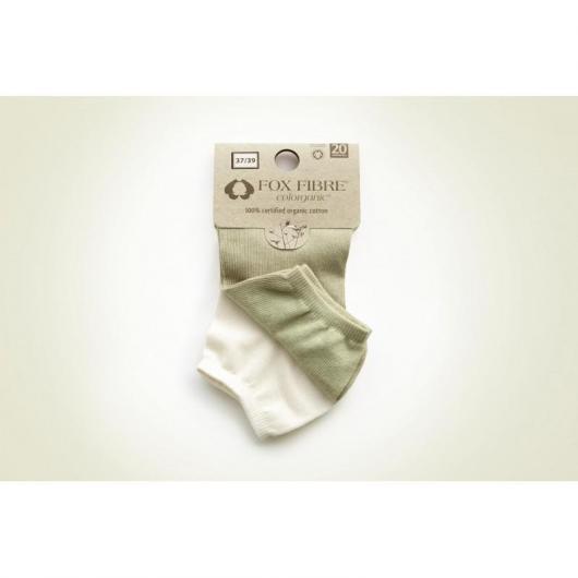 Pack 2 calcetines sport de algodón orgánico adulto, blanco y verde