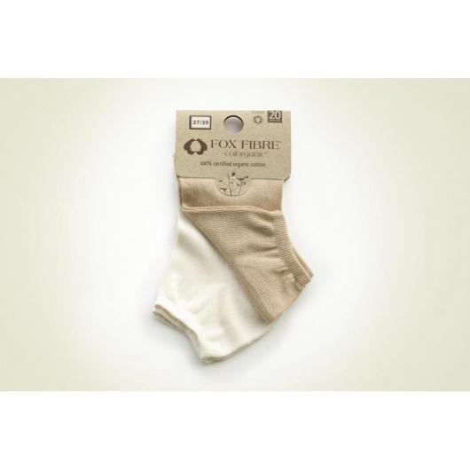 Pack 2 calcetines sport de algodón orgánico adulto, blanco y marrón