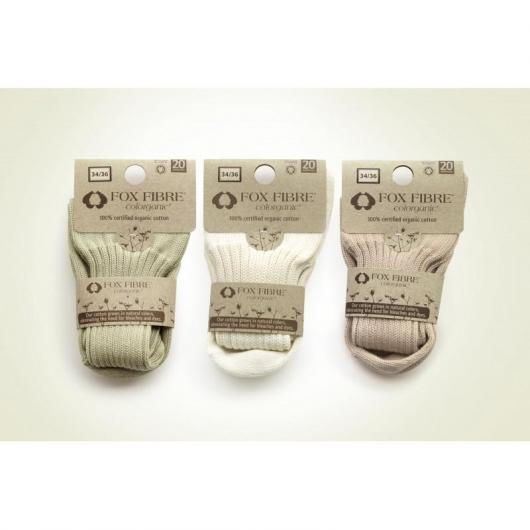 Calcetines de canalé ancho de algodón orgánico adulto, blanco