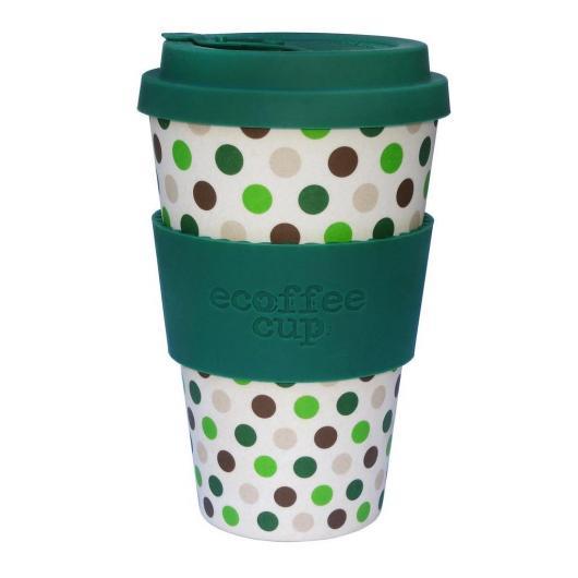 Vaso de Bambú Green Polka ecoffee Alternativa 3, 400 ml