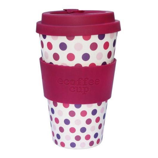 Tazza di Bambú Pink Polka ecoffee Alternativa3, 400 ml