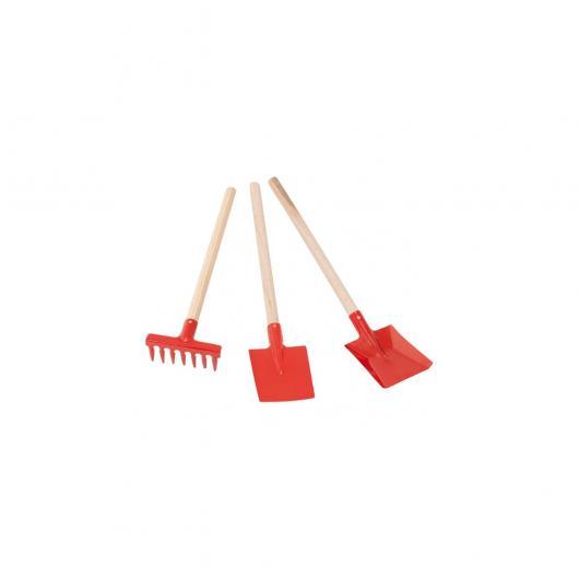 Set de jardinería niños rojo (pala, recogedor, rastrillo) Redecker