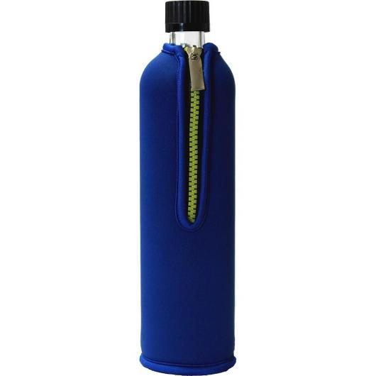 Botella de vidrio con funda de neopreno azul Biodora, 500ml