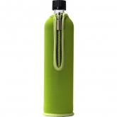 Bottiglia di vetro con copertura in neoprene verde Biodora, 500ml
