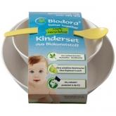 Set per bebé di bioplastico bianco Biodora, 2 ciotole, 1 cucchiaio