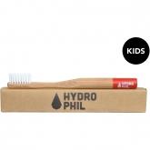 Spazzolino denti bambini in bambú e nylon rosso, delicato Hydrophil