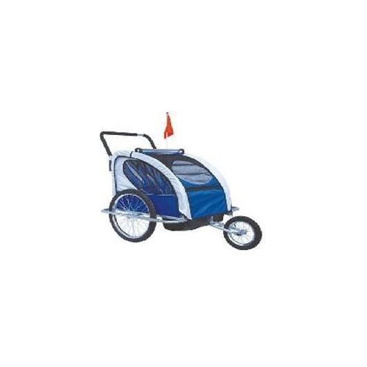 Remolque de niños Jogger Ciclotek azul y gris