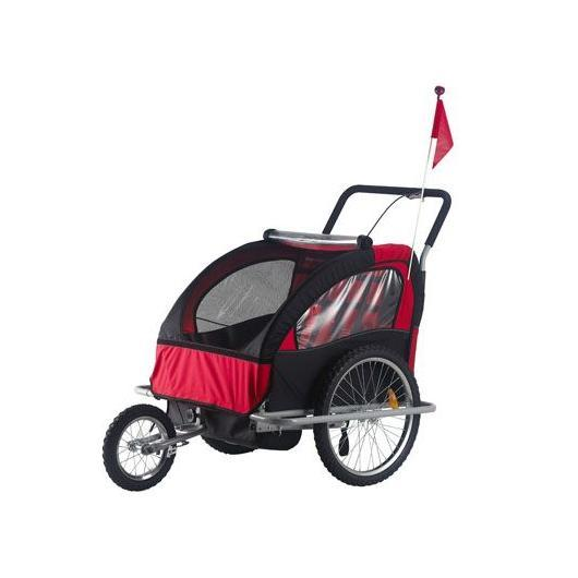 Rimorchio per bambini Jogger Ciclotek azzurro e grigio rosso