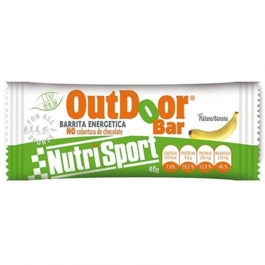 Outdoor Barrita Energética Plátano Sin Cobertura Nutrisport, 20 unidades