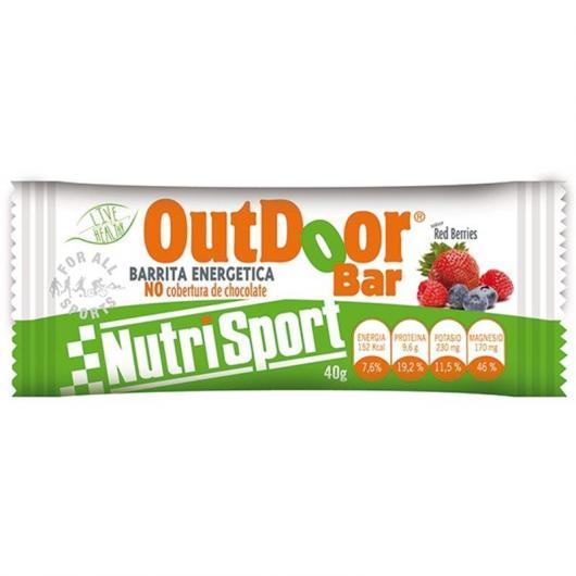 Outdoor Barrita Energética Frutas Rojas Sin Cobertura Nutrisport, 20 unidades