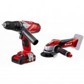 Set Einhell Power X Change TE-TK 18 Li: Taladro TE-CD 18/2 Li + Amoladora TE-AG 18 Li