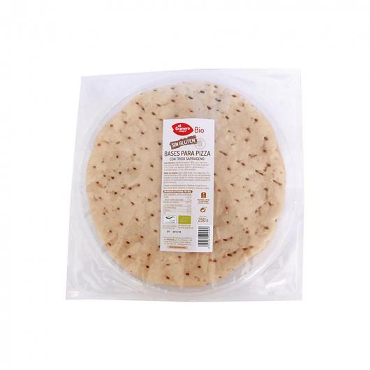 Bases de Pizza con Trigo Sarraceno sin gluten bio El Granero Integral, 2 uds de 250 g