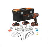 Kit trapano avvitatore de 18 V + batterie + carica + accessori, Black & Decker